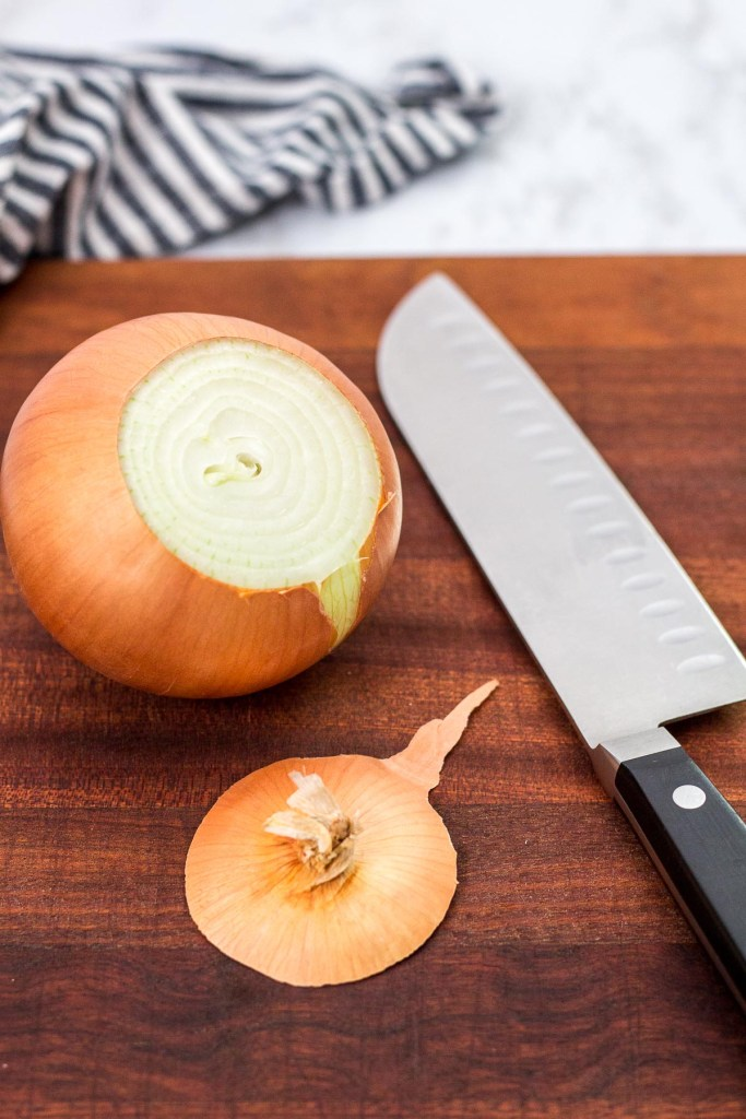 top part of the onion cut with a knife
