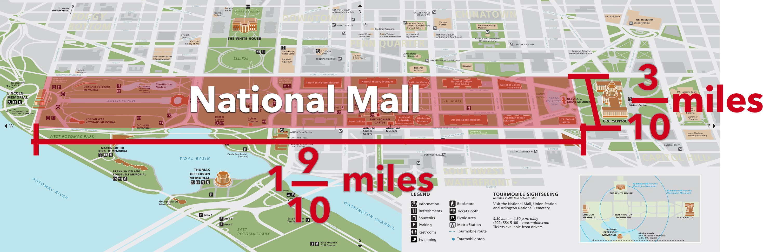 The area of the National Mall on a National Park Service map.