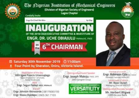 NIMechE Lagos Sets to beam searchlight on Engineering versatility as it inaugurates 6th Chairman