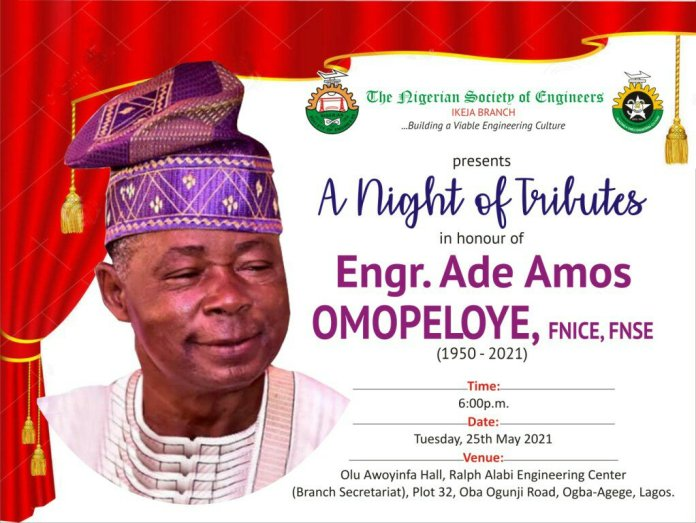 Invitation to A night of Tributes to late Engr Omopeloye
