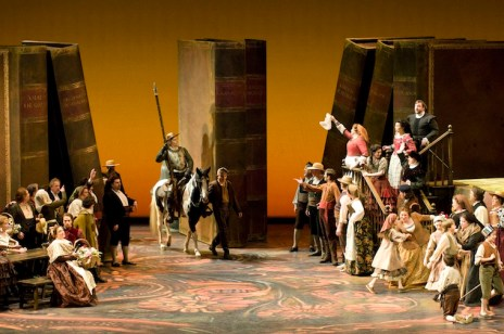 John Relyea (centre, on horse) as Don Quichotte in the Seattle Opera production of Don Quichotte, 2011. Photo: Rozarii Lynch