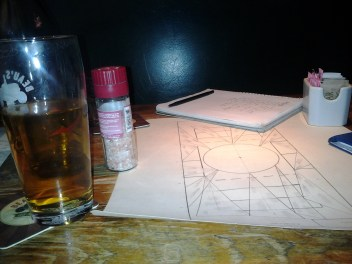 Drinks and set design planning with Kat Sandler for Cockfight. Photo by Claire Hill