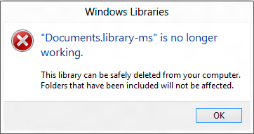 Documents.library-ms is no longer working.