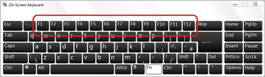 On-Screen Keyboard with F keys