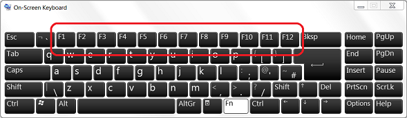 On-Screen Keyboard with F keys