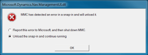 MCC has detected an error in snap-in and will unload it