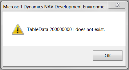 TableData 2000000001 does not exist.