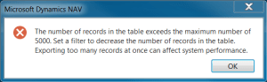The number of records in the table exceeds the maximum number of 5000