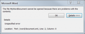 The file {WordDocumentName} cannot be opened because there are problems with the contents