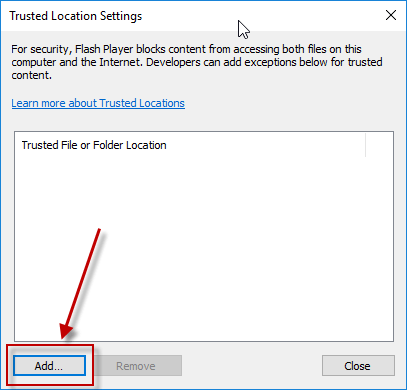 Trusted Location Settings