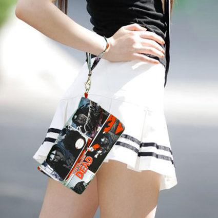 white skirt clutch