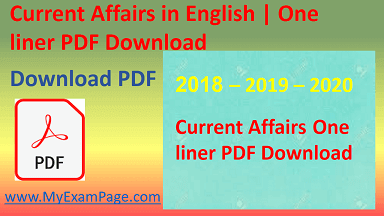 """Current Affairs in English One liner PDF Download"