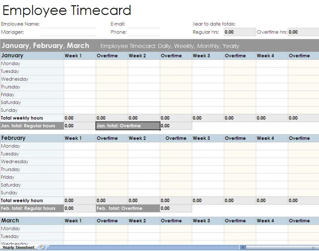 Employee Timesheet Spreadsheet Form Excel Templates