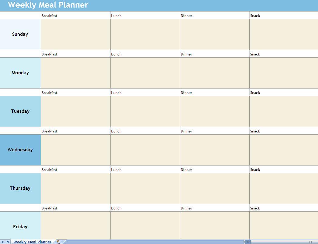 Weekly Meal Planner Excel Spreadsheet