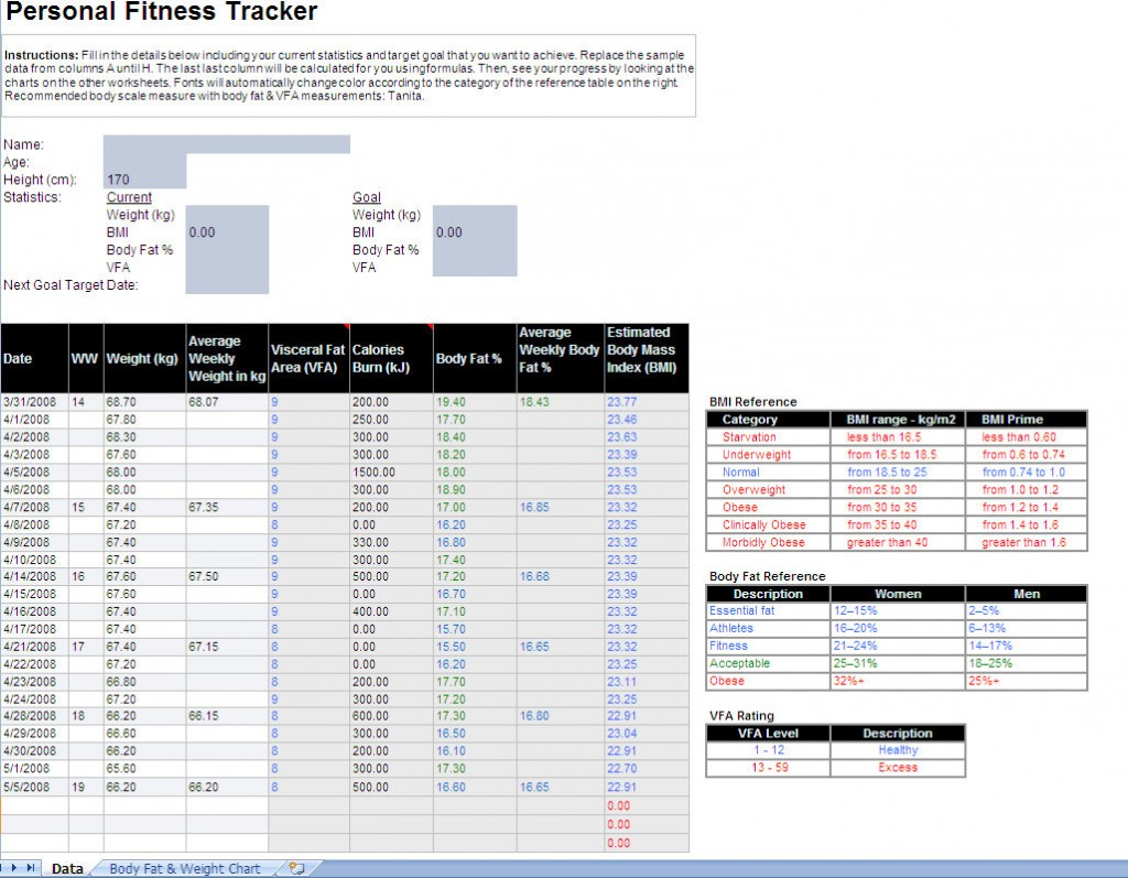 Fitness Tracker Excel Template