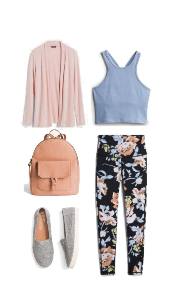 Stitch Fix floral print athleisure outfit.