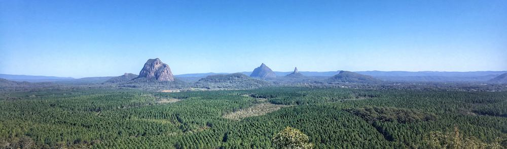 Panoramic view of the Glasshouse Mountains from the Wild Horse Lookout