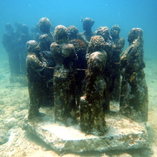 The MUSA Diving Cancun Underwater Museum - Manchones Reef - Statues 2