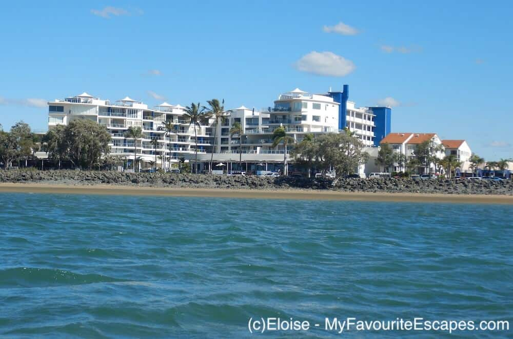 View of the Oaks resort in Hervey Bay from the water