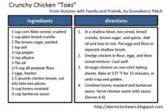 crunchy chicken toes card