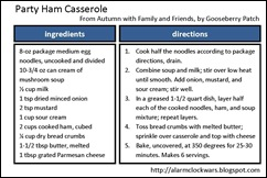 party ham casserole recipe card
