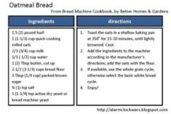 oatmeal bread recipe card