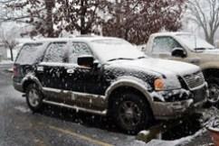 snowing on truck