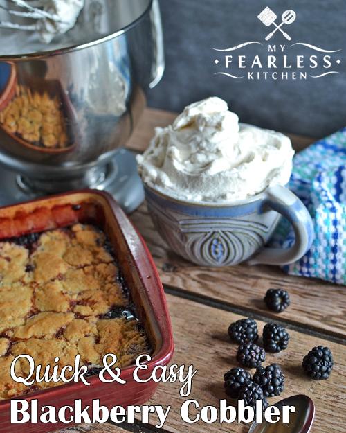 easy homemade blackberry cobbler with freshly whipped cream