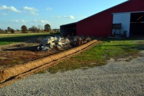 trench from the barn