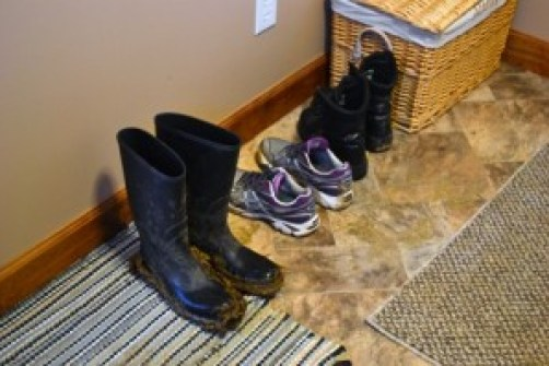 boots in the mudroom