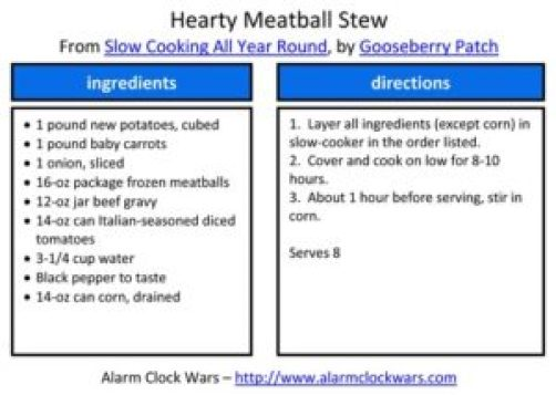 hearty meatball stew recipe card