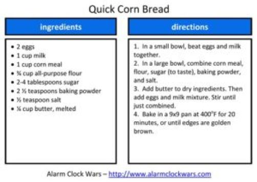 quick corn bread recipe card