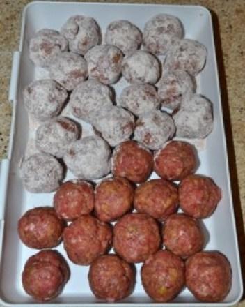 dredge meatballs in flour