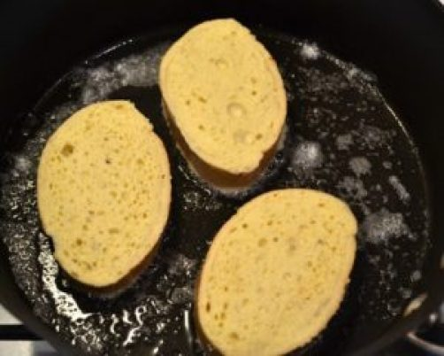 melt butter and cook bread