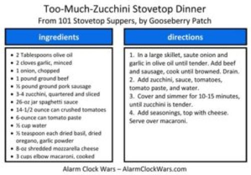 too-much-zucchini stovetop dinner recipe card