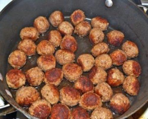 brown meatballs
