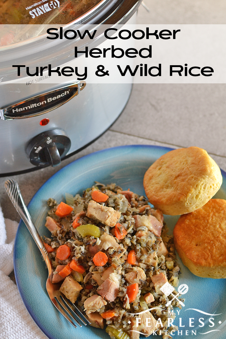 Slow Cooker Herbed Turkey & Wild Rice from My Fearless Kitchen. This recipe for Slow Cooker Turkey and Wild Rice is a great way to use up some of your leftover turkey. Make your slow cooker do the heavy lifting!
