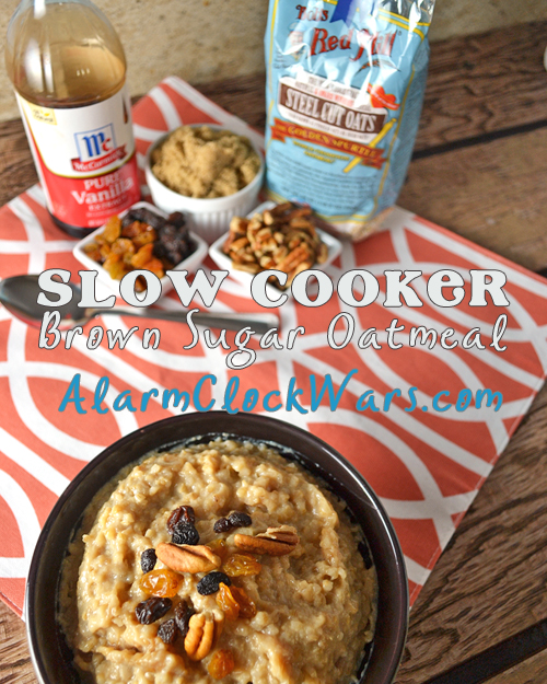 Set this Brown Sugar Oatmeal up in your slow cooker before you go to bed, and have a tasty, hot breakfast waiting for you when you get up! Just add coffee and you're ready to face the day!