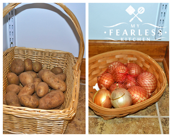 onions and potatoes stored in baskets in the pantry