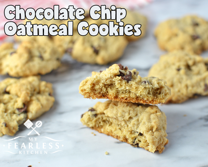 chocolate chip oatmeal cookies on a marble background