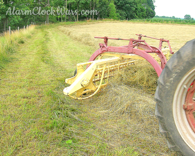 A hay rake sweeps hay into long piles called windrows.