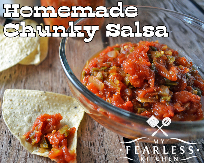 Homemade Chunky Salsa from My Fearless Kitchen. This Homemade Chunky Salsa is fun to make. And when you can it, you'll have summery salsa all year long. Well, as long as it lasts, anyway!