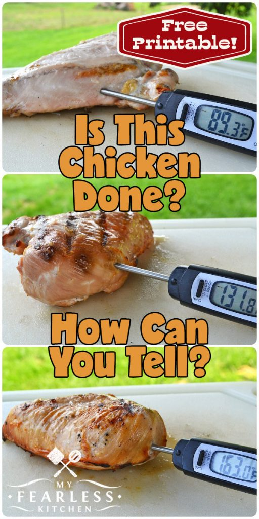collage of chicken breasts with meat thermometer