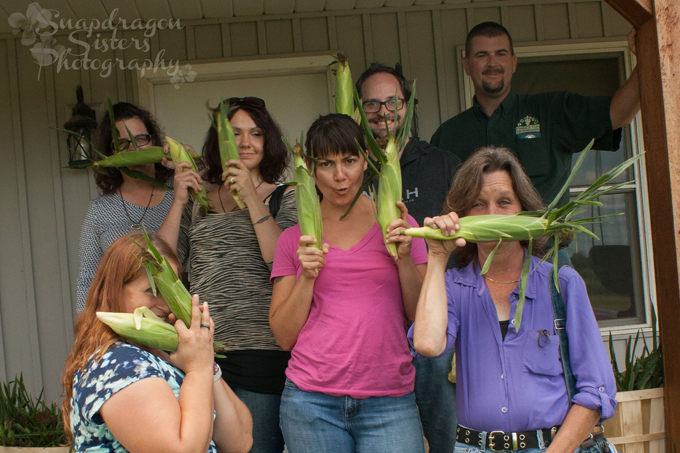 All the bloggers had a blast seeing a farm that raises beef cows and sweet corn.