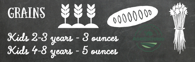 Kids 2-3 years old should eat 3 ounces of grains a day; kids 4-8 years old should eat 5 ounces of grains a day.