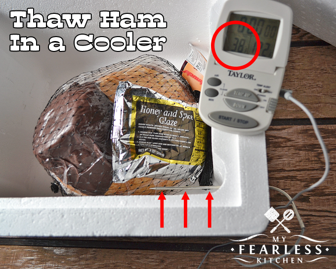 use a meat thermometer and a styrofoam cooler to safely thaw a frozen ham