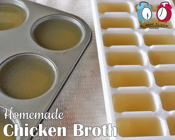 Homemade chicken broth recipe from Alarm Clock Wars. Have you ever made homemade chicken broth? It's great as a base for classic chicken soup, or to keep on hand for a boost of flavor in any recipe. And it's so much easier than you think! Pour the chicken broth into Ziploc bags, muffin trays, or ice cube trays to freeze in easy portion sizes.