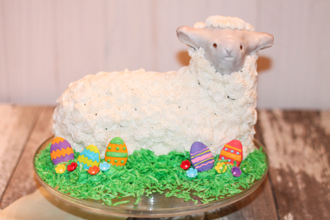 decorated 3D stand-up spring lamb cake by The Farmwife Cooks