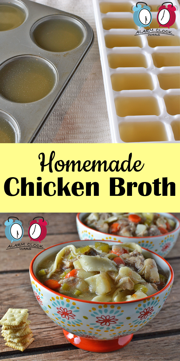 Homemade chicken broth recipe from Alarm Clock Wars. Have you ever made homemade chicken broth? It's great as a base for classic chicken soup, or to keep on hand for a boost of flavor in any recipe. And it's so much easier than you think!