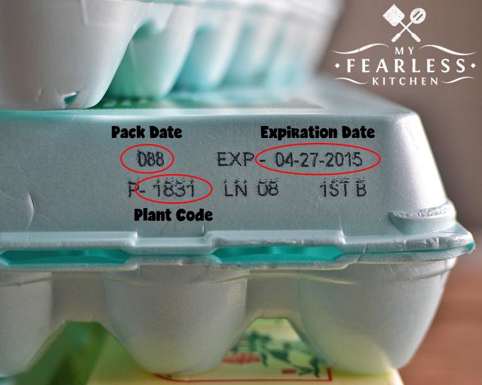 blue egg carton with codes circled